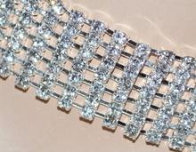 COLLANA donna COLLARINO bracciale elegante GIROCOLLO argento 7 file di strass cristalli brillanti cerimonia collar 135