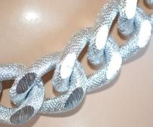 COLLANA donna girocollo ARGENTO anelli CATENA satinati zigrinati collier collar A45