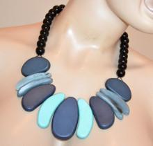 COLLANA donna girocollo ciondoli blu azzurro celeste perle lucide nere collier colar S39