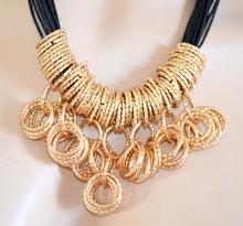 COLLANA donna girocollo NERA ORO anelli diamantati FILI collarino ELEGANTE necklace 735