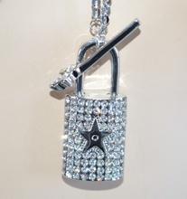 COLLANA donna LUNGA argento CIONDOLO lucchetto chiave strass idea regalo san Valentino E60