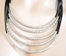 COLLANA donna NERA ARGENTO diamantata girocollo collarino collare multi filo sexy necklace 710
