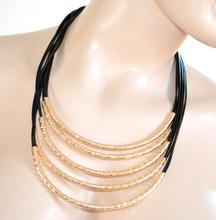 COLLANA donna NERA ORO diamantata girocollo collarino collare dorato multifili collier 710