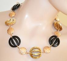 COLLANA donna oro dorata nero elegante girocollo sexy collarino etnico collier collar Z18