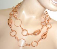 COLLANA LUNGA CINTURA donna ORO ROSA gioiello metallo rosato anelli pietre lucide elegante ceinture bijou N52