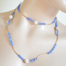 COLLANA LUNGA donna oro dorata cristalli blu strass elegante girocollo bracciale A58