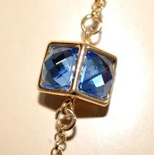 COLLANA LUNGA donna oro dorata cristalli blu viola verdi gialli collier G32