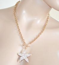 COLLANA oro donna elegante ciondolo stella strass catena girocollo anelli diamantati Z6