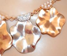 COLLANA ORO donna girocollo charms perle ciondoli martellati argento dorati collier elegante N22