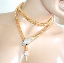 COLLANA oro dorata girocollo donna elegante lunga collarino strass serpente collier A98