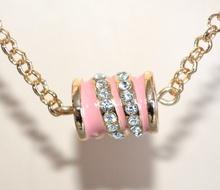 COLLANA ORO ROSA donna pietre bianche perle girocollo collier lunga elegante F26