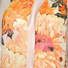 FOULARD donna seta stola\coprispalle da cerimonia x abito\vestito velato bufanda scarf floreale arancio 83