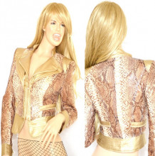 GIUBBINO donna Giacca Slim Giubbotto eco Pelle e Paillettes stampato rettile Oro Dorato Elegante Jacket G08