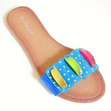 INFRADITO AZZURRI donna sandali ciabatte basse celesti turchesi oro scarpe estive E55