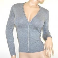 MAGLIA CARDIGAN GRIGIO argento donna maglietta aperta zip strass golfino manica lunga lurex A37