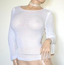 MAGLIA FILO BIANCA donna manica lunga maglietta golfino maglioncino made in Italy G96