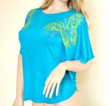 MAGLIETTA AZZURRA donna tunica t-shirt copricostume maglia manica corta P1