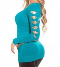 MAGLIETTA AZZURRA TURCHESE donna maglia paillettes oro sottogiacca scollo V elegante AZ12
