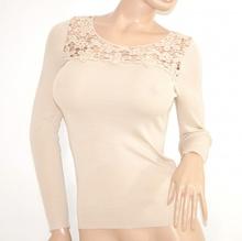 MAGLIETTA BEIGE maglia donna sottogiacca maniche lunghe ricamate strass elegante da cerimonia E40
