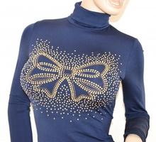 MAGLIETTA BLU donna manica lunga felpata collo alto maglione sottogiacca tinta unita chiodini oro H2