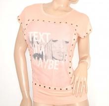MAGLIETTA donna ROSA CIPRIA maglia sottogiacca viscosa t-shirt girocollo cotone chiodini argento 55X