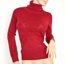 MAGLIETTA maglione ROSSO maglia donna collo alto maniche lunghe sottogiacca strass Z60