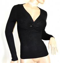 MAGLIETTA NERA donna sottogiacca maniche lunghe maglia costine maglione nodo A7