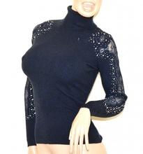 MAGLIONE BLU collo alto donna maglietta manica ricamata sottogiacca strass G3