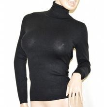 MAGLIONE COLLO ALTO NERO donna sottogiacca maglia maglioncino manica lunga dolcevita G4