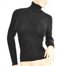 MAGLIONE NERO donna collo alto maglietta  manica lunga  maglioncino maglia F135
