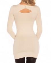 MAXI PULL BEIGE donna maglietta manica lunga strass maglia maglione oblò AZ10