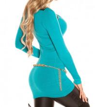 MAXI PULL TURCHESE donna maglietta azzurra manica lunga maglia sottogiacca AZ15