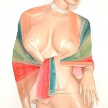 MAXI STOLA donna BEIGE VERDE GIADA FUCSIA foulard seta velata elegante coprispalle cerimonia abito da sera E45