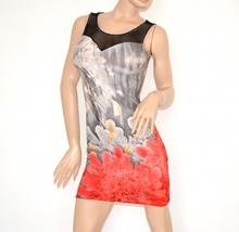 MINI ABITO  donna abitino corto tubino vestito SEXY a rete giromanica floreale copricostume nero grigio ELASTICIZZATO 100D