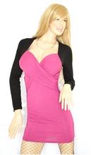 MINI ABITO donna miniabito vestito manica lunga maxi pull vestido incrociato nero\fucsia dress kleid sexy oblò V13