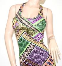 MINI ABITO vestito donna lilla viola verde giromanica abitino copricostume cotone\lino miniabito 65