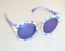 OCCHIALI da SOLE donna BIANCHI BLU maculati oro lenti ovali sunglasses BB38