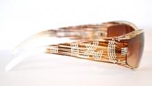 OCCHIALI da SOLE donna BIANCO MARRONE strass lenti Elegante mascherina sexy brillantini sunglasses 45