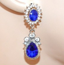 ORECCHINI argento BLU donna strass cristalli pendenti eleganti pendientes CC159