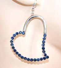 ORECCHINI ARGENTO donna cuori pendenti strass blu elegante idea regalo A16