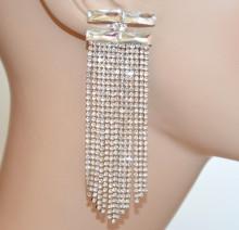 ORECCHINI ARGENTO donna fili lunghi strass pendenti cristalli trasparenti eleganti cerimonia BB25