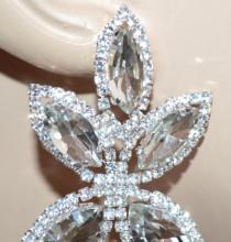 ORECCHINI ARGENTO donna FIORE cristalli pendenti strass gocce sposa elegante earrings S43