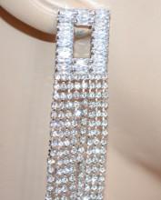 ORECCHINI ARGENTO donna MULTI FILI extra lunghi pendenti STRASS cristalli sposa S80