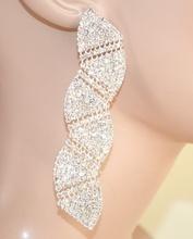 ORECCHINI ARGENTO donna sposa eleganti STRASS cerimonia cristalli brillanti 1100