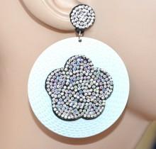 ORECCHINI bianchi donna cerchi pendenti fiore strass boreali brillantini boucles d'oreilles CC108