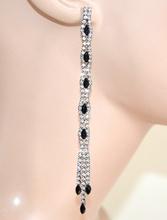 ORECCHINI cristalli NERI donna fili strass pendenti lunghi boucles eleganti E140