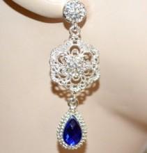 ORECCHINI donna argento platino cristallo blu pendenti fiore strass kolczyki CC41