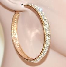 Orecchini donna cerchi oro dorati strass cristalli brillantini eleganti cerimonia F91