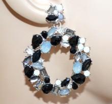 ORECCHINI donna cristalli neri grigio cerchi pendenti strass pietre argento blak earrings BB26