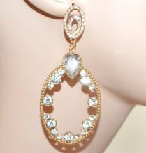 ORECCHINI donna cristalli oro dorati pendenti ovali strass trasparenti boucles CC144